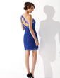 Sheath/Column One-Shoulder Short/Mini Chiffon Cocktail Dress With Ruffle Beading Sequins (016021224)
