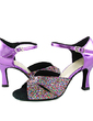 Women's Sparkling Glitter Patent Leather Heels Sandals Latin Dance Shoes (053013306)