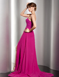 A-Line/Princess Sweetheart Sweep Train Chiffon Lace Evening Dress With Ruffle Beading Split Front (017014545)