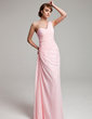 A-Line/Princess One-Shoulder Floor-Length Chiffon Prom Dress With Ruffle Beading (018004880)