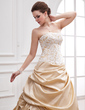A-Line/Princess Strapless Cathedral Train Taffeta Tulle Wedding Dress With Ruffle Beading (002000380)