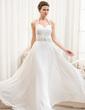 A-Line/Princess Halter Floor-Length Chiffon Wedding Dress With Ruffle Beading Sequins (002054367)