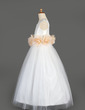 A-Line/Princess Floor-length Flower Girl Dress - Taffeta/Tulle Sleeveless Scoop Neck With Sash/Flower(s) (010014649)