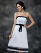 A-Line/Princess Strapless Knee-Length Satin Bridesmaid Dress With Sash Bow(s) (007000903)