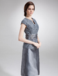 Sheath/Column V-neck Knee-Length Taffeta Lace Mother of the Bride Dress With Beading (008006293)