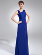 Sheath/Column V-neck Floor-Length Chiffon Mother of the Bride Dress With Ruffle Beading Split Front (008006887)