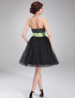 A-Line/Princess Sweetheart Knee-Length Tulle Homecoming Dress With Sash Beading (022020985)