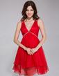 A-Line/Princess V-neck Knee-Length Chiffon Holiday Dress With Ruffle Beading (020037392)