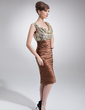 Sheath/Column Cowl Neck Knee-Length Charmeuse Sequined Mother of the Bride Dress With Ruffle (008006430)