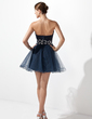 A-Line/Princess Scalloped Neck Short/Mini Taffeta Tulle Homecoming Dress With Ruffle Beading Sequins (022004340)