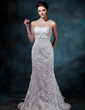 Trumpet/Mermaid Strapless Watteau Train Lace Wedding Dress With Ruffle Crystal Brooch Bow(s) (002000134)