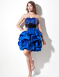 A-Line/Princess Sweetheart Short/Mini Satin Sequined Homecoming Dress With Ruffle Sash Flower(s) (022010529)