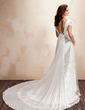 A-Line/Princess Square Neckline Watteau Train Chiffon Lace Wedding Dress With Beading Flower(s) Pleated (002011929)