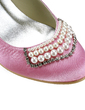 Women's Satin Low Heel Closed Toe Pumps With Beading Imitation Pearl Rhinestone (047020193)