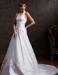 A-Line/Princess Halter Court Train Satin Wedding Dress With Embroidered Beading (002015172)