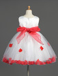 Empire Knee-length Flower Girl Dress - Organza/Satin/Tulle Sleeveless Scoop Neck With Sash/Flower(s)/Bow(s) (010014603)