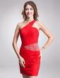 Sheath/Column One-Shoulder Short/Mini Chiffon Cocktail Dress With Ruffle Beading (016016870)