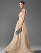 A-Line/Princess Scoop Neck Floor-Length Chiffon Prom Dress With Ruffle Beading (018005069)