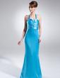 Sheath/Column Halter Sweep Train Charmeuse Evening Dress With Ruffle Beading (017015778)
