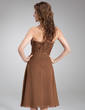 A-Line/Princess Strapless Knee-Length Chiffon Bridesmaid Dress With Beading Cascading Ruffles (007001084)