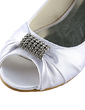 Women's Satin Flat Heel Peep Toe Sandals With Rhinestone (047014110)