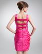 Sheath/Column Square Neckline Short/Mini Charmeuse Cocktail Dress With Ruffle Beading (016016255)