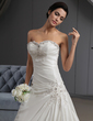 A-Line/Princess Sweetheart Cathedral Train Taffeta Wedding Dress With Ruffle Beading Appliques Lace (002022651)