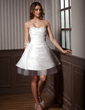 A-Line/Princess Sweetheart Knee-Length Taffeta Tulle Wedding Dress With Ruffle Flower(s) (002011637)