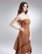 A-Line/Princess Strapless Asymmetrical Chiffon Prom Dress With Beading (018015648)
