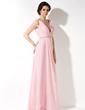 A-Line/Princess V-neck Floor-Length Chiffon Bridesmaid Dress With Ruffle Beading (007017157)