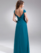 A-Line/Princess V-neck Floor-Length Chiffon Bridesmaid Dress With Ruffle Beading Flower(s) (007004147)