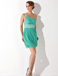 Sheath/Column One-Shoulder Short/Mini Chiffon Homecoming Dress With Ruffle Beading (022009410)