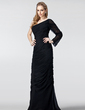 Sheath/Column One-Shoulder Floor-Length Chiffon Evening Dress With Ruffle (017020986)