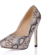 Leatherette Stiletto Heel Pumps Platform Closed Toe With Animal Print shoes (085017490)