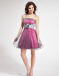 A-Line/Princess Short/Mini Taffeta Homecoming Dress With Lace Beading Flower(s) Sequins (022010074)