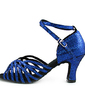 Women's Sparkling Glitter Heels Sandals Latin With Ankle Strap Dance Shoes (053013366)