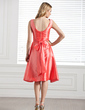 A-Line/Princess V-neck Knee-Length Taffeta Bridesmaid Dress With Ruffle Bow(s) (007004231)