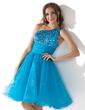 Linia A/Księżniczka Jednoramienna Do Kolan Organza Sequined Sukienka na Zjazd Absolwentów Z Żabot Perełki (022010575)