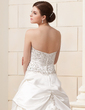 Ball-Gown Sweetheart Chapel Train Satin Wedding Dress With Embroidered Ruffle Beading Sequins (002012576)