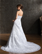 A-Line/Princess Strapless Chapel Train Tulle Wedding Dress With Beading Appliques Lace Bow(s) (002012149)