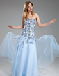 A-Line/Princess Sweetheart Floor-Length Tulle Prom Dress With Appliques Lace Sequins (018018822)