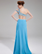 A-Line/Princess One-Shoulder Sweep Train Chiffon Prom Dress With Ruffle Beading Split Front (018018823)