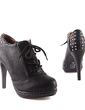 Leatherette Spool Heel Ankle Boots With Sequin shoes (088033083)