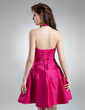 A-Line/Princess Halter Short/Mini Taffeta Homecoming Dress With Ruffle Beading (022020623)