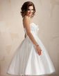 A-Line/Princess Sweetheart Knee-Length Tulle Wedding Dress With Ruffle Bow(s) (002011726)