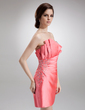 Sheath/Column Scalloped Neck Short/Mini Satin Cocktail Dress With Ruffle Beading (016005604)