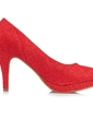 Women's Leatherette Stiletto Heel Closed Toe Pumps With Sparkling Glitter Flower (047055836)