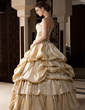 Ball-Gown Strapless Floor-Length Taffeta Quinceanera Dress With Ruffle Beading Appliques Lace Flower(s) (021004689)