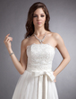 A-Line/Princess Strapless Tea-Length Lace Wedding Dress With Bow(s) (002020879)