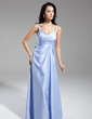 A-Line/Princess V-neck Floor-Length Taffeta Evening Dress With Ruffle Bow(s) (017014916)